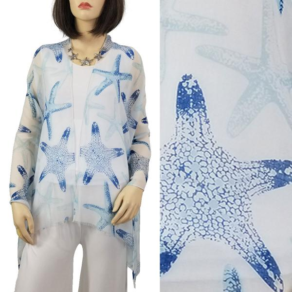 Wholesale Nautical Print Scarves and Shawls STARFISH PRINT 9434 BLUE Nautical Print Scarf/Shawl -
