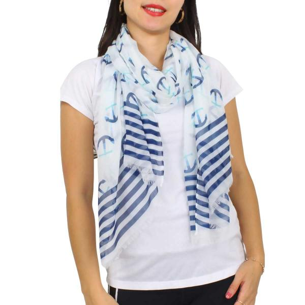 Wholesale Nautical Print Scarves and Shawls ANCHOR PRINT 5078 Nautical Print Scarf/Shawl -
