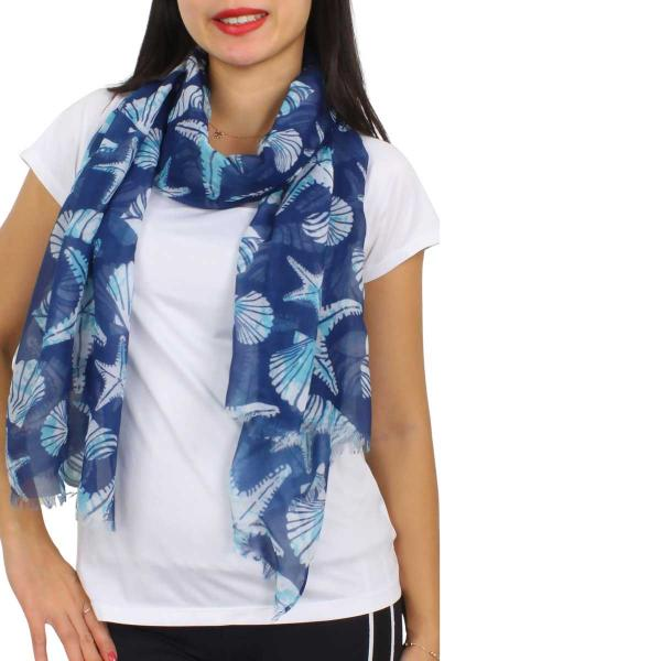 Wholesale Nautical Print Scarves and Shawls STARFISH PRINT 5080 Nautical Print Scarf/Shawl -