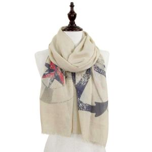 Wholesale  ANCHOR DESIGN 8079 BEIGE Nautical Print Scarf/Shawl -