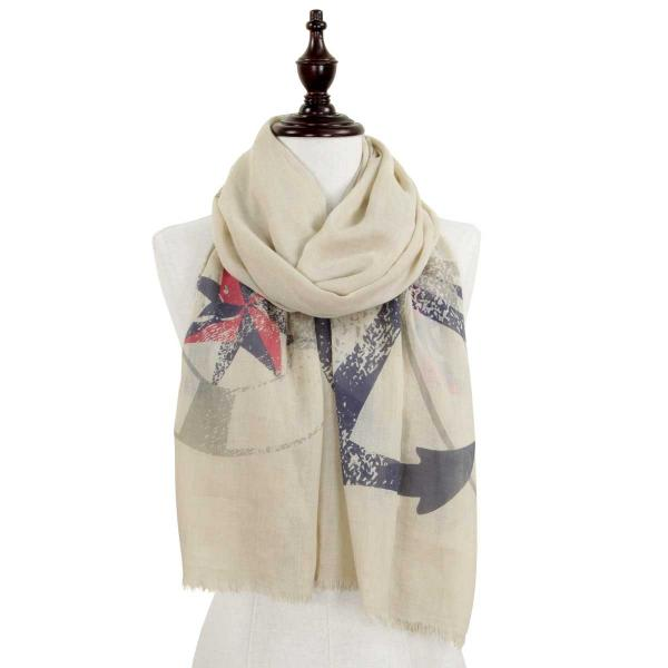 Wholesale Nautical Print Scarves and Shawls ANCHOR DESIGN 8079 BEIGE Nautical Print Scarf/Shawl -