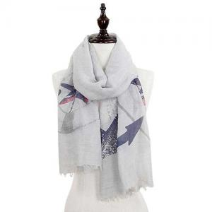 Wholesale  ANCHOR DESIGN 8079 GREY Nautical Print Scarf/Shawl -