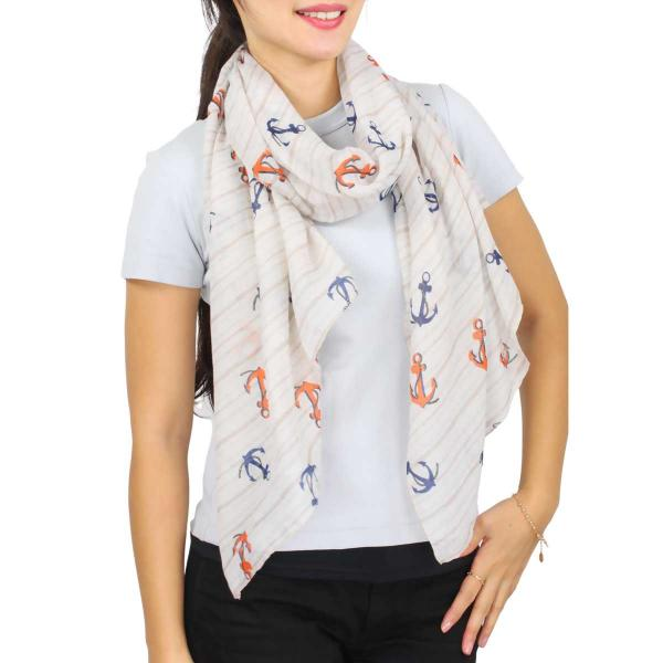 Wholesale Nautical Print Scarves and Shawls ANCHOR STRIPE PRINT BEIGE Nautical Print Scarf/Shawl  -