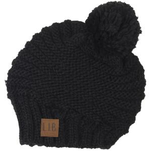 wholesale Knit Winter Hats 9180 Stripe Knit with Pom Pom - Black -