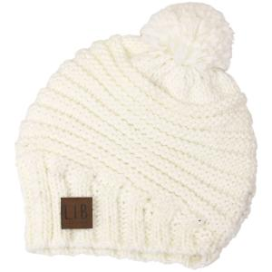 wholesale Knit Winter Hats 9180 Stripe Knit with Pom Pom - Ivory -