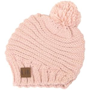 wholesale Knit Winter Hats 9180 Stripe Knit with Pom Pom - Pink -