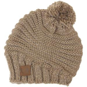 wholesale Knit Winter Hats 9180 Stripe Knit with Pom Pom - Taupe -