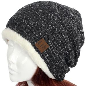 Metallic Print Shawls with Buttons 8714 Knit Hat Fur Feel Lined - Charcoal Grey -