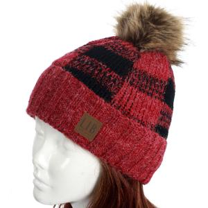 wholesale Knit Winter Hats 8712 Knit Hat Buffalo Check Pattern - Red -