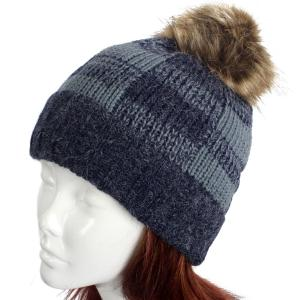 wholesale Knit Winter Hats 8712 Knit Hat Buffalo Check Pattern - Navy -