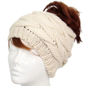 wholesale Knit Winter Hats 9167 Knit Beanie Messy Bun - Ivory -