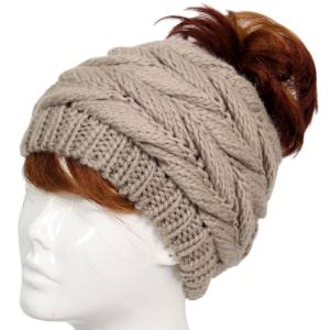 wholesale Knit Winter Hats 9167 Knit Beanie Messy Bun - Taupe -