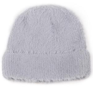wholesale Knit Winter Hats 9516 Knit Beanie Furry Knit - Grey -