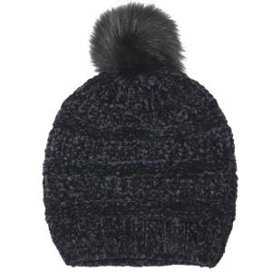 wholesale Knit Winter Hats 9517 Knit Beanie Chenille Pom Pom - Black -