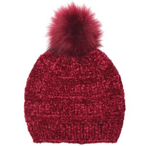wholesale Knit Winter Hats 9517 Knit Beanie Chenille Pom Pom - Burgundy -
