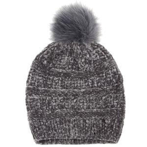 wholesale Knit Winter Hats 9517 Knit Beanie Chenille Pom Pom - Grey -