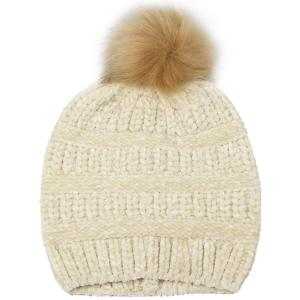 wholesale Knit Winter Hats 9517 Knit Beanie Chenille Pom Pom - Ivory -