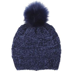 wholesale Knit Winter Hats 9517 Knit Beanie Chenille Pom Pom - Navy -