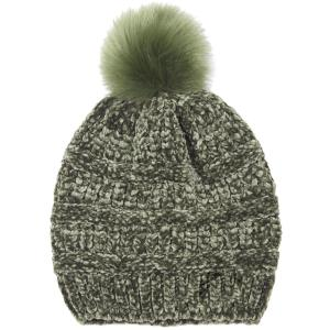 wholesale Knit Winter Hats 9517 Knit Beanie Chenille Pom Pom - Olive -