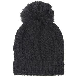 wholesale Knit Winter Hats 9518 Knit Beanie Pom Pom - Black -