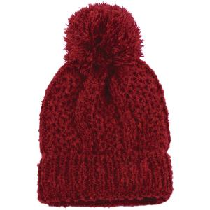 wholesale Knit Winter Hats 9518 Knit Beanie Pom Pom - Burgundy -