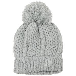 wholesale Knit Winter Hats 9518 Knit Beanie Pom Pom - Grey -