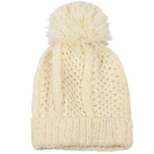 wholesale Knit Winter Hats 9518 Knit Beanie Pom Pom - Ivory -