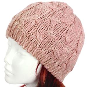 wholesale Knit Winter Hats 8716 Knit Beanie Two Tone Cable Knit - Pink -