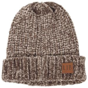 wholesale Knit Winter Hats 9166 Knit Beanie Chenille - Taupe -