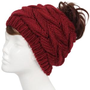 wholesale Knit Winter Hats 9167 Knit Beanie Messy Bun - Burgundy -