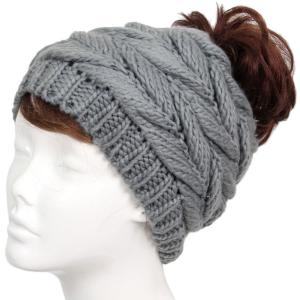 wholesale Knit Winter Hats 9167 Knit Beanie Messy Bun - Grey -