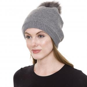 Metallic Print Shawls with Buttons JH252 Grey Pom Pom Straight Knit Hat with Sherpa Lining  - One Size Fits All