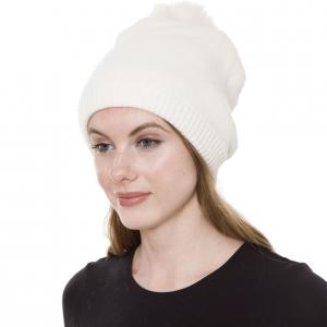 Metallic Print Shawls with Buttons JH252 Off White Pom Pom Straight Knit Hat with Sherpa Lining  - One Size Fits All