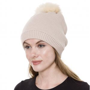 Metallic Print Shawls with Buttons JH252 Beige Pom Pom Straight Knit Hat with Sherpa Lining  - One Size Fits All