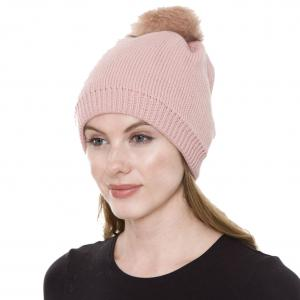Metallic Print Shawls with Buttons JH252 Pink Pom Pom Straight Knit Hat with Sherpa Lining  - One Size Fits All