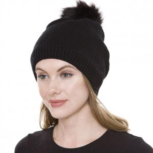 Metallic Print Shawls with Buttons JH252 Black Pom Pom Straight Knit Hat with Sherpa Lining   - One Size Fits All