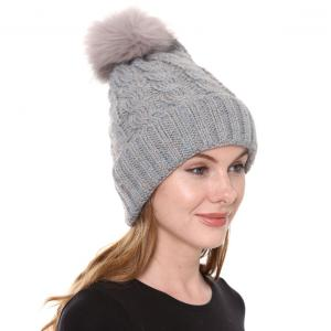 Metallic Print Shawls with Buttons JH248 Grey Pom Pom Cable Knit Sparkle Hat with Sherpa Lining  - One Size Fits All