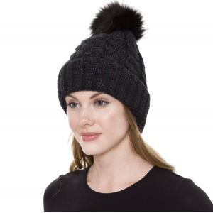 Metallic Print Shawls with Buttons JH248 Black Pom Pom Cable Knit Sparkle Hat with Sherpa Lining  - One Size Fits All