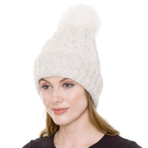 Metallic Print Shawls with Buttons JH248 Off White Pom Pom Cable Knit Sparkle Hat with Sherpa Lining  - One Size Fits All