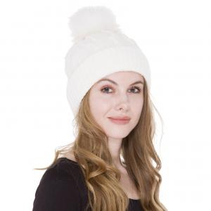 Metallic Print Shawls with Buttons JH226 Cream Multi Knit Sherpa Lined Hat with Pom Pom - One Size Fits All