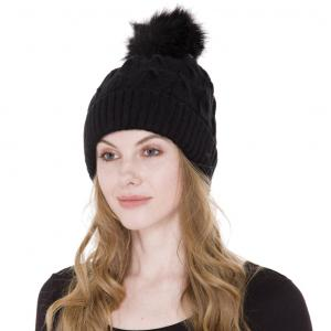 Metallic Print Shawls with Buttons JH226 Black Multi Knit Sherpa Lined Hat with Pom Pom - One Size Fits All