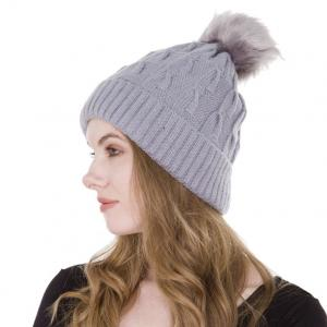 wholesale Knit Winter Hats JH226 Light Grey Multi Knit Sherpa Lined Hat with Pom Pom - One Size Fits All