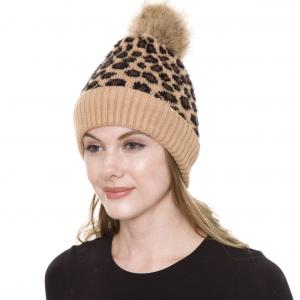 Metallic Print Shawls with Buttons JH259 Pom Pom Leopard Camel Knit Hat with Sherpa Lining - One Size Fits All