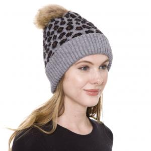 wholesale Knit Winter Hats JH259 Pom Pom Leopard Grey Knit Hat with Sherpa Lining - One Size Fits All