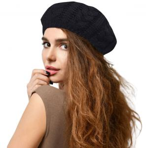 Metallic Print Shawls with Buttons JH710 Black Cable Knit Beret with Double Layer Lining - One Size Fits All