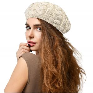 wholesale Knit Winter Hats JH710 Ivory Cable Knit Beret with Double Layer Lining - One Size Fits All