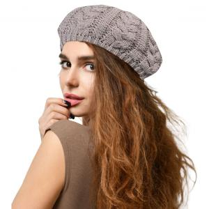 Metallic Print Shawls with Buttons JH710 Light Grey Cable Knit Beret with Double Layer Lining - One Size Fits All