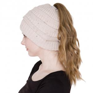 wholesale Knit Winter Hats JH222 Beige Ponytail Knitted Cap -