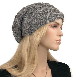 Metallic Print Shawls with Buttons LC:HATSL - Grey Slouchy Knit Hat with Faux Fur Lining -