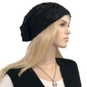Metallic Print Shawls with Buttons LC:HATSL - Black Slouchy Knit Hat with Faux Fur Lining -